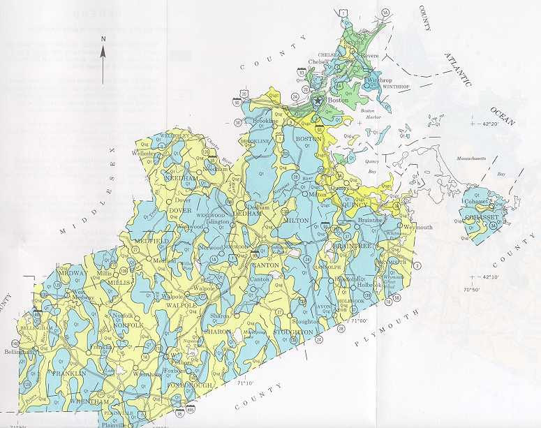 surficial geology bottom maps of norfolk and suffolk counties machusetts copied from the usda scs soil survey of norfolk and suffolk counties
